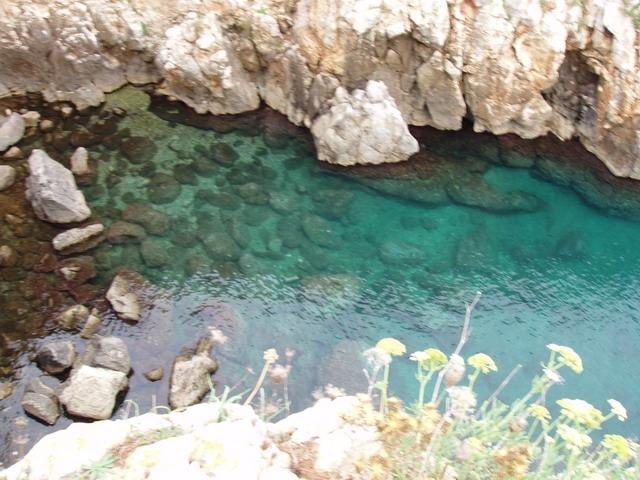 Costa rocciosa frastagliata e mare limpido e trasparente.