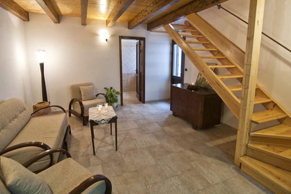 Vista del salotto dell'appartamento in affitto in Salento