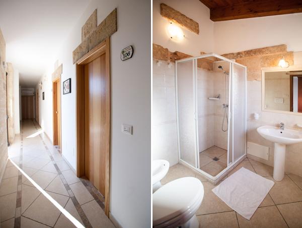 bagno tipo e corridoio per accedere alle camere