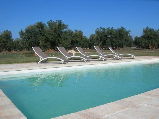 vasca della piscina e terrazza arredata con sdraio