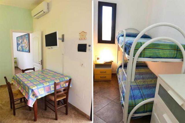 letti a castello e zona pranzo negli appartamenti bilocali