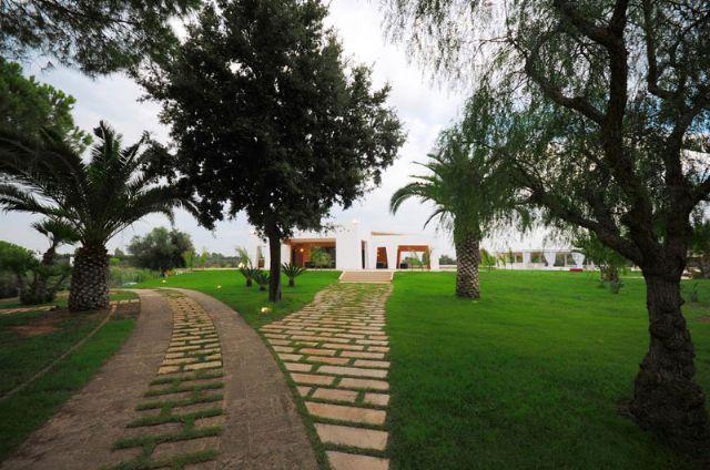 ampio giardino con verde e alberi di ulivo circostanti gli alloggi